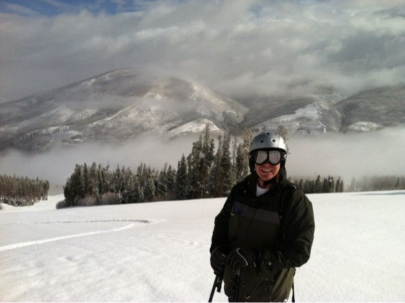 Windy and blowing snow at the top.  Warms up at the bottom.  Great day.  No lines.