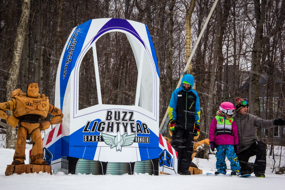 Learning the ropes under the watchful eye of Buzz Lightyear - ©Jay Peak Resort