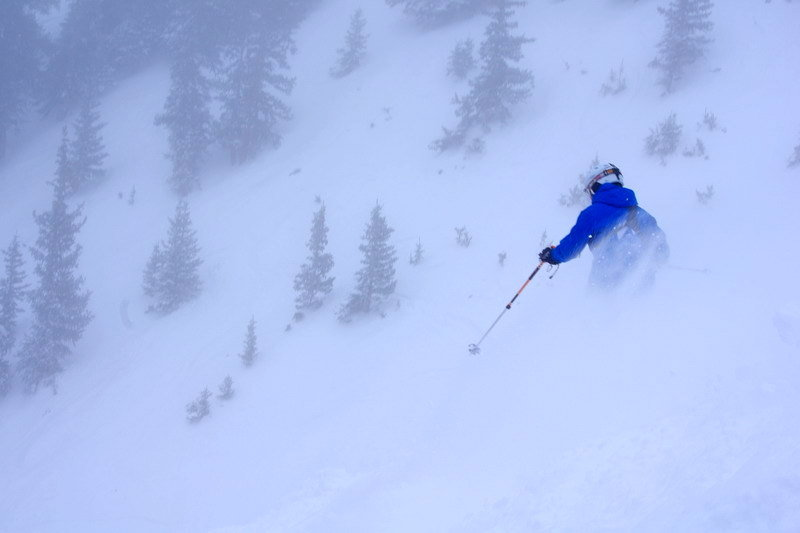 A skier enjoys the powder at Arapahoe Basin.
