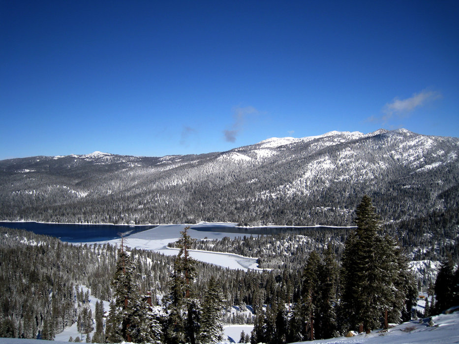 Mountaintop view of nearby Huntington Lake.
