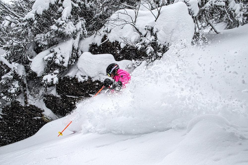 Kristi Brown Lovell loving the fresh snow at Stowe! - ©Liam Doran