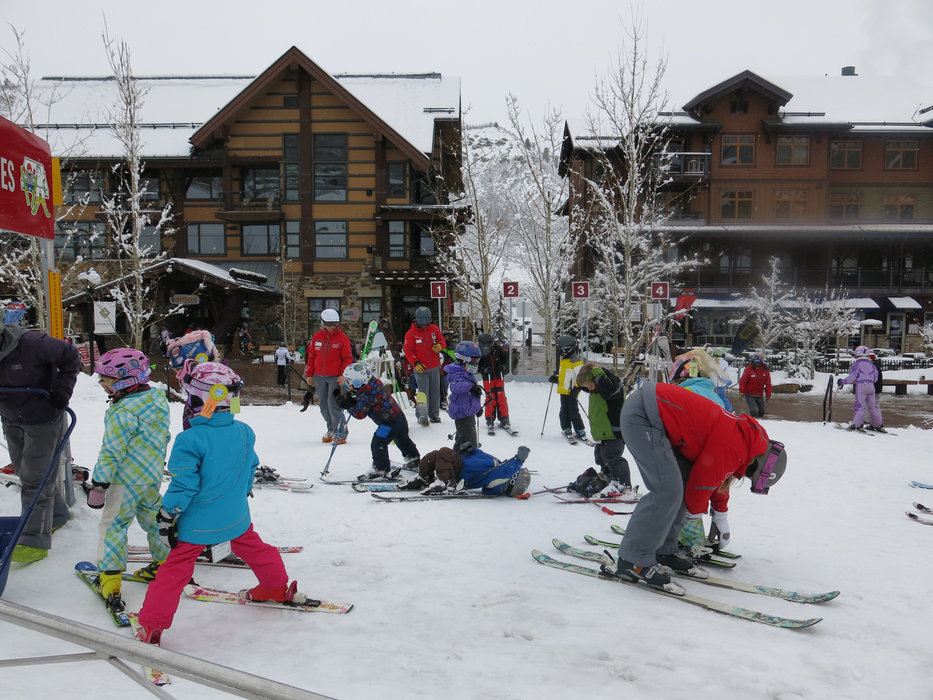 Little skiers at work in Snowmass