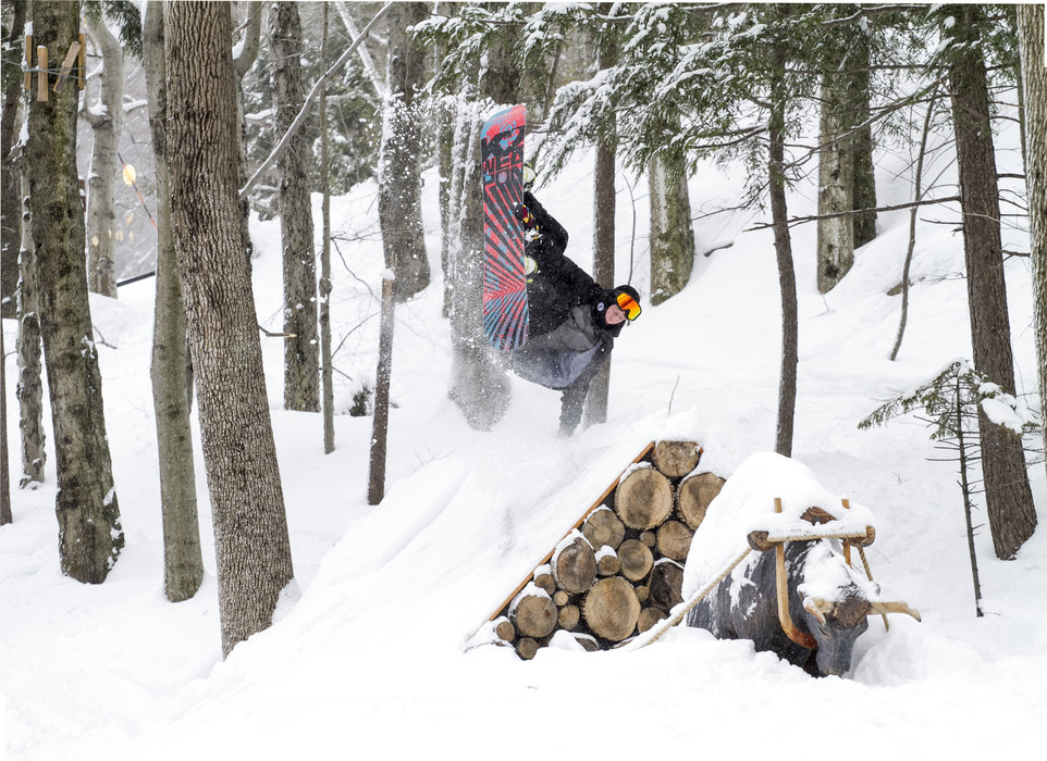 Launching off Babe the Blue Ox in Loon's Burton Lil' Stash, a gladed terrain park for young riders.