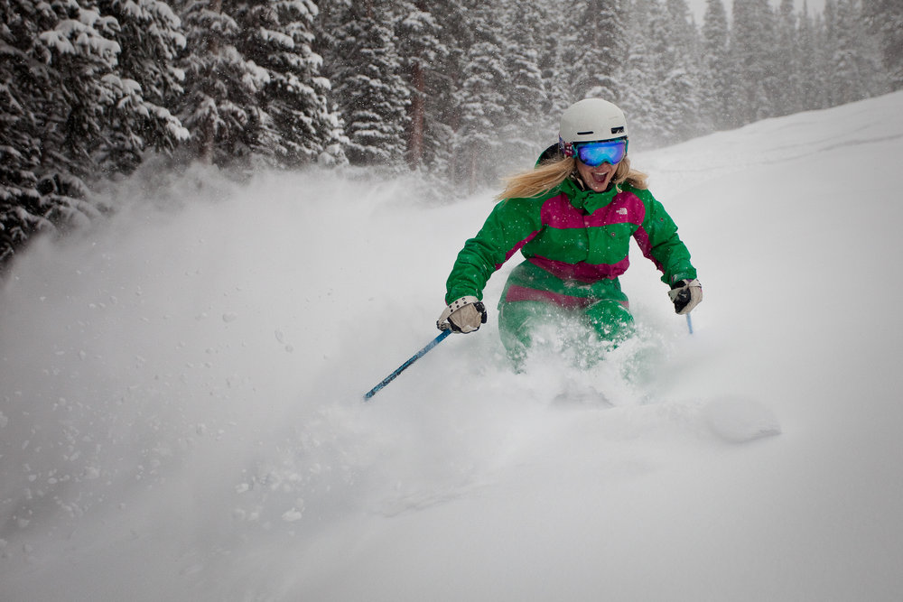 Sure, Meredith enjoys all kinds of skiing, the groomers, the steeps, the bumps, but nothin' beats a powder day (like this one on Aspen Mountain).