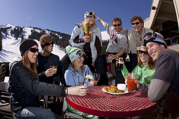 A beer and a burger at the Pine Marten Lodge is a great way to close out your summer ski morning on Mt. Bachelor.