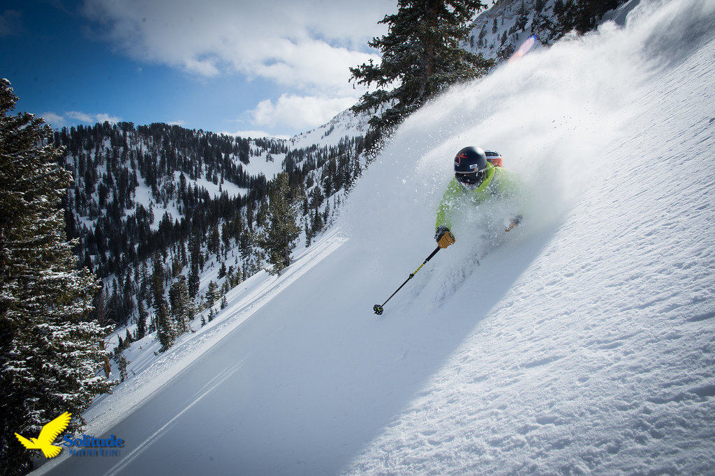 A skier rips up a fresh line in Solitude Resort's Honeycomb Canyon.