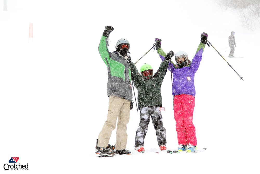 Skiers cheer for fresh snow at Crotched Mountain.