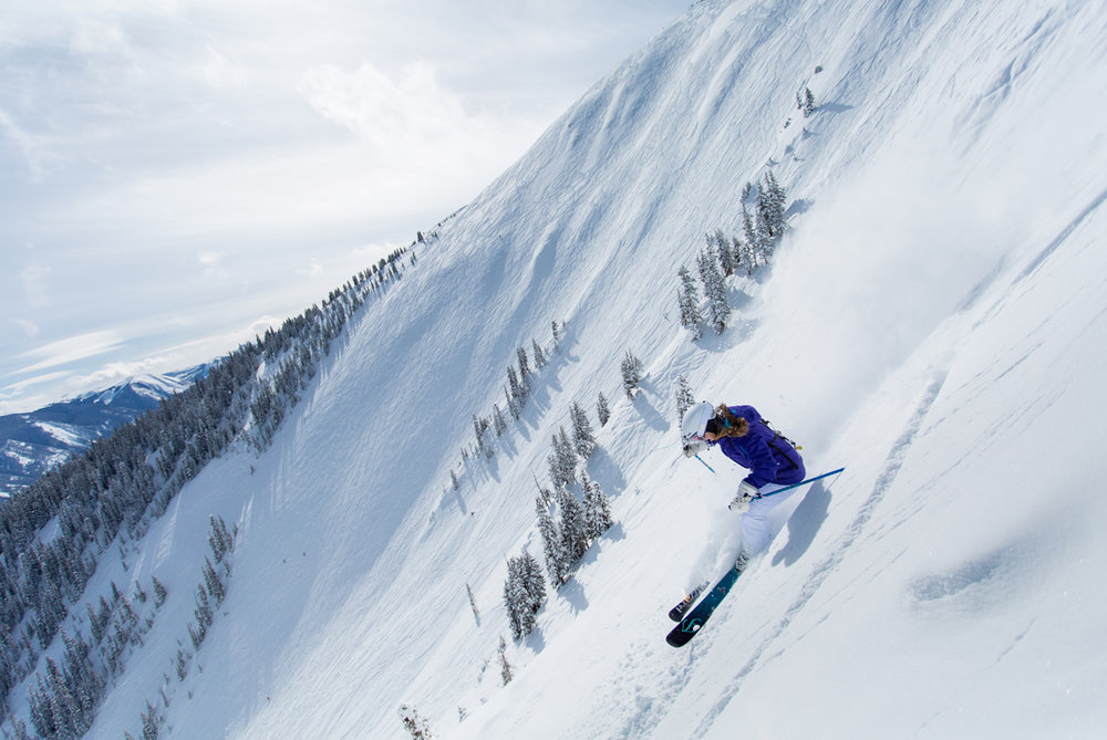 Tackling the steeps of the Aspen Highlands Y-Zones.