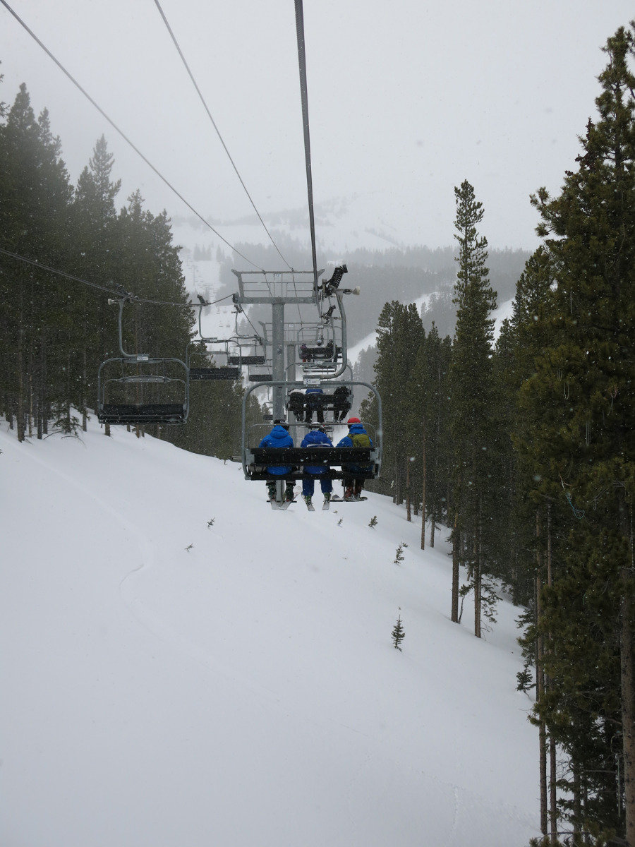 Taking the ski lift in Breckenridge