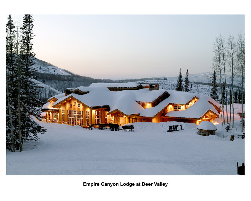 The snow covered Empire Canyon Lodge at Deer Valley, UT