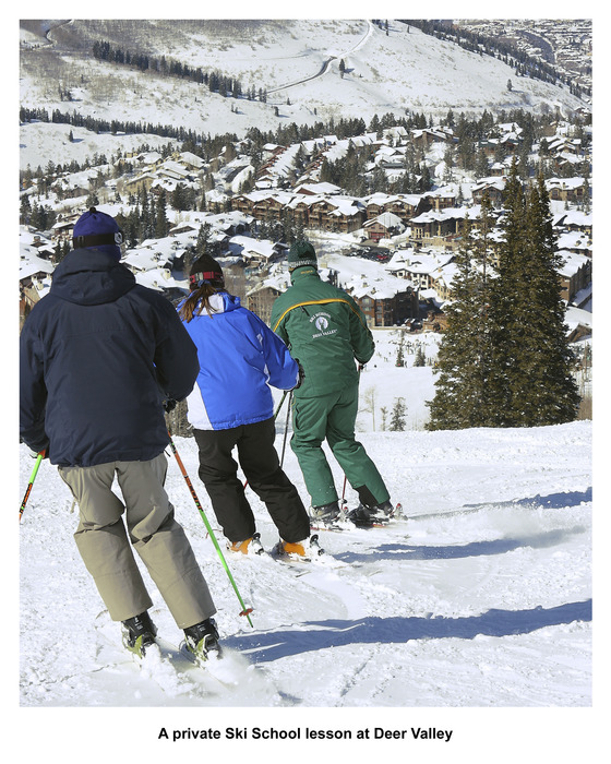 A private ski school lesson at Deer Valley, UT.