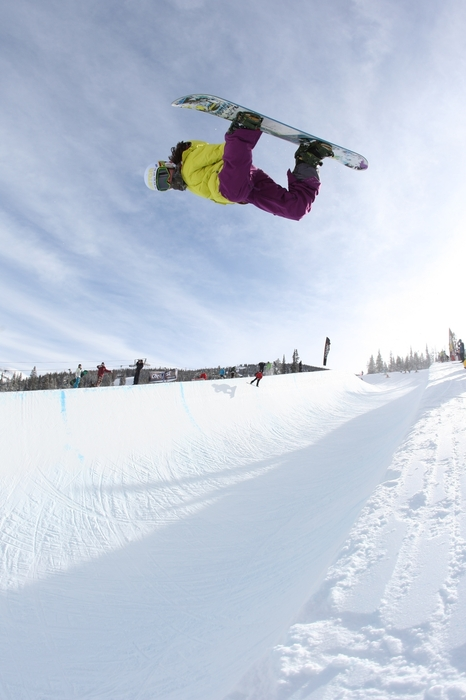 Maddy Schaffrick taking flight in superpipe at Copper Mtn CO. Photo: Chris Owen