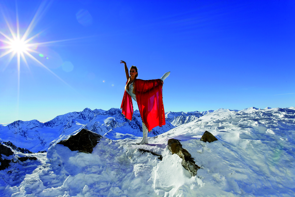 A skier high over Obergurgl AUT