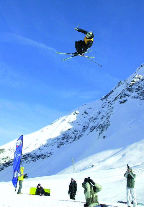 A freeskier high above Saas Fee.