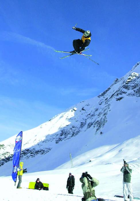 A freeskier high above Saas Fee.