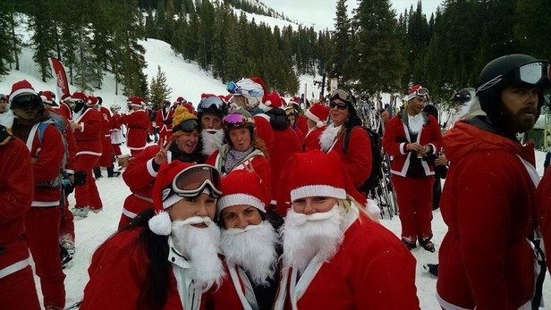 Set a world record today for # of santa's skiing! Snowing now, tomorrow will be gorgeous!! :-) - ©Stefanie's iPhone