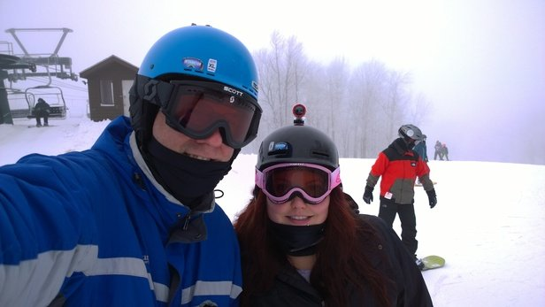 Great day skiing today. Good conditions though a little foggy. Got a little icy by days end(night).