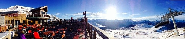 Hard packed and lots of white stuff at 2300m , above that and it a bit fluffier :-)  This is view from folie douce circa 2300m