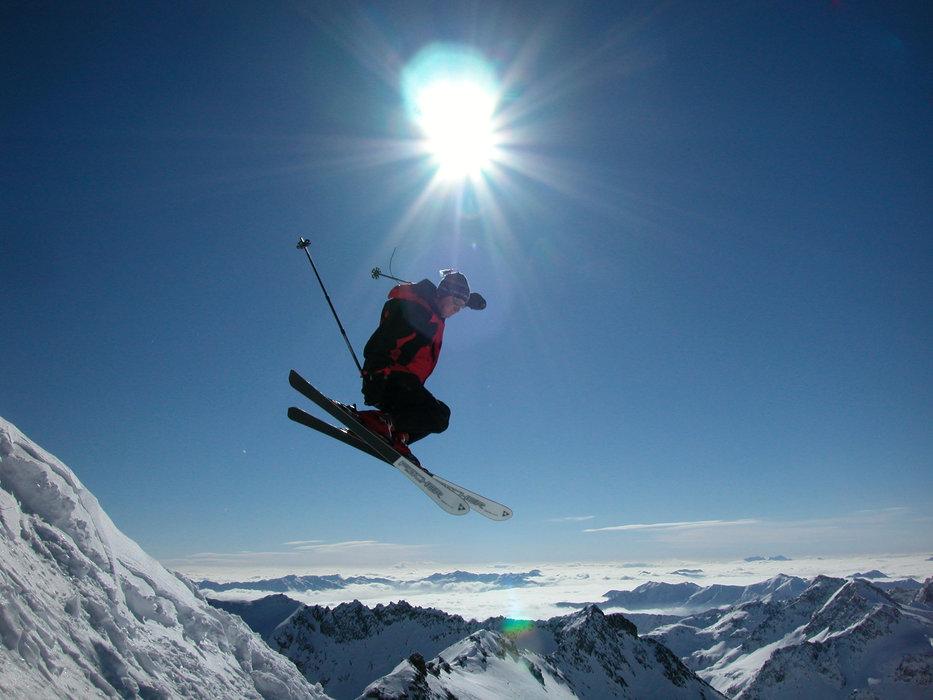 A skier launching over Mölltaler, AUT.