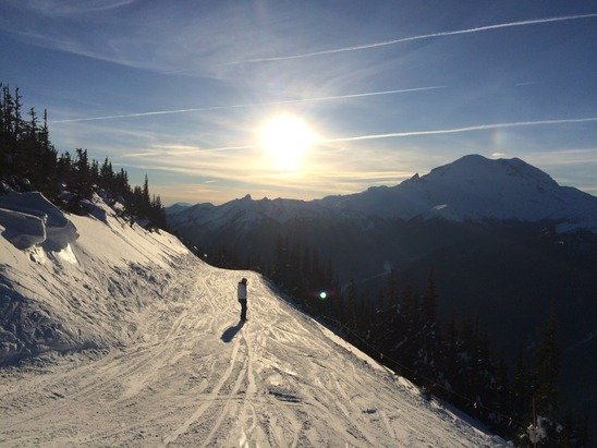 Beautiful ski day to start out the new year. This was taken yesterday, January 1st. Great skiing, but beware some bare spot & exposed rocks.  Looking forward to some fresh powder.