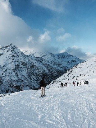 Great weather for skiing, although some areas were closed today due to the wind.