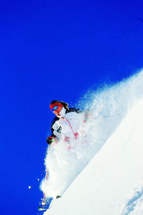Skier in heavy powder at Hochfugen, AUT.