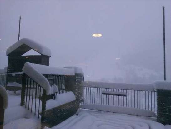 Its been snowing all night and it might be snowing all day long!  Visibility is bad though.
