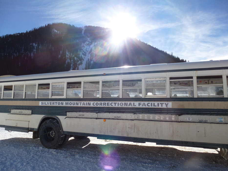 Long runs of powder include a trip back to the base in Silverton's bus, named by skiers with a sense of humor. - ©Krista Crabtree