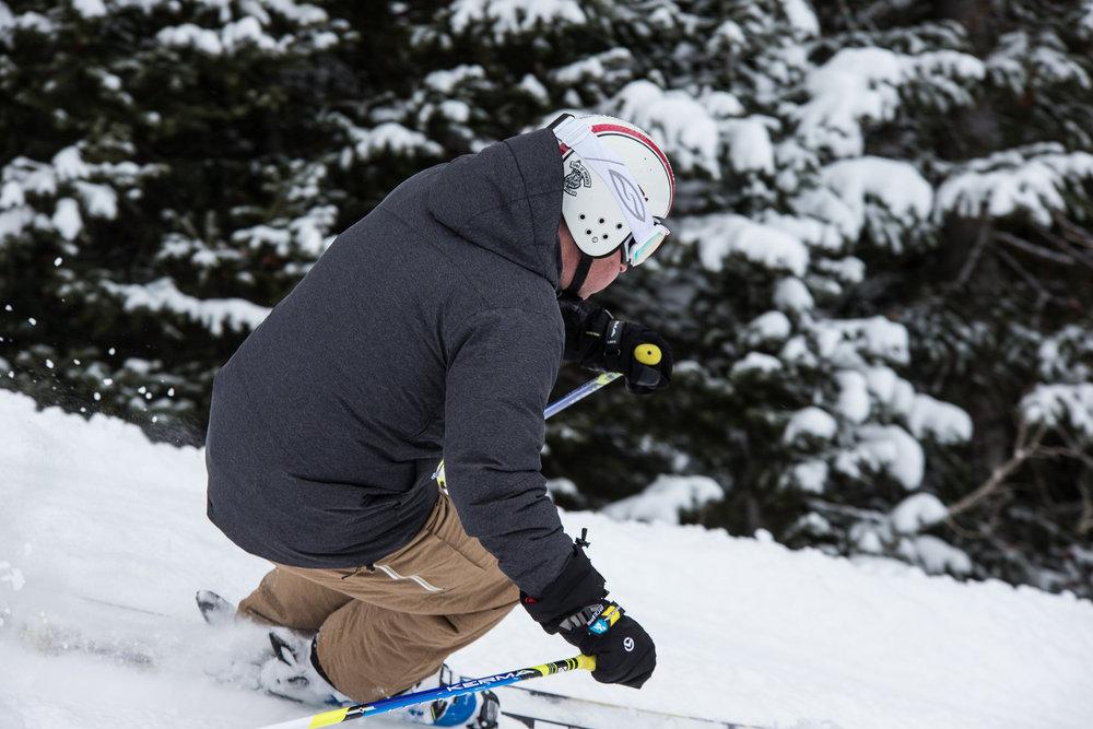 Ski testers hot-lapping frontside terrain. - ©Liam Doran