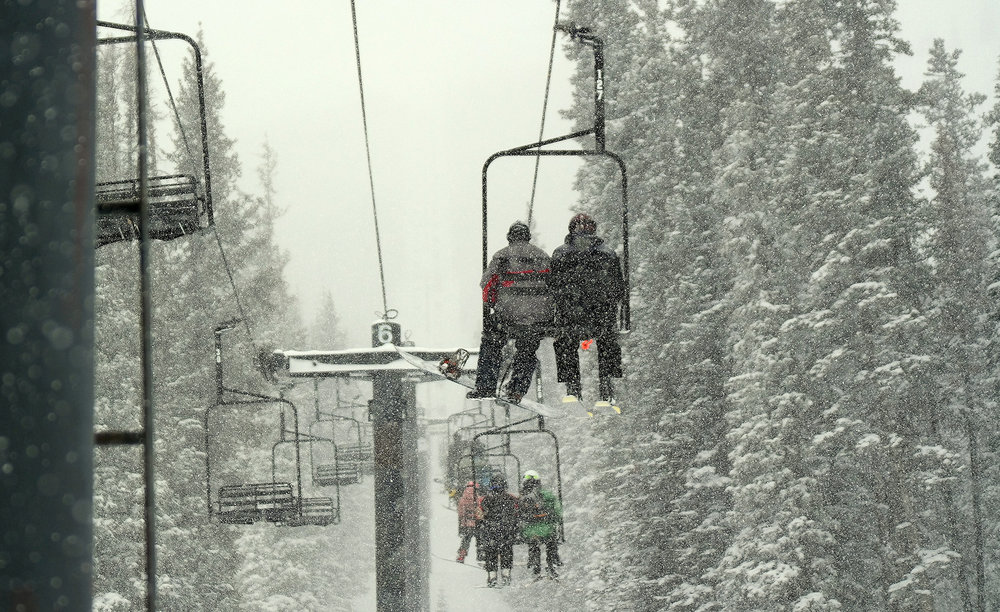 A steady snowfall at Monarch piled nearly two feet of snow.
