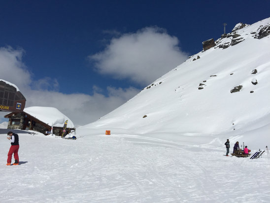 Sainte Foy Tarentaise - At the top of the Marquise, awesome snow day today - ©Vicki's iPhone