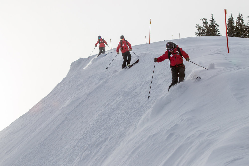 Grand Targhee patrol ski cutting in formation.