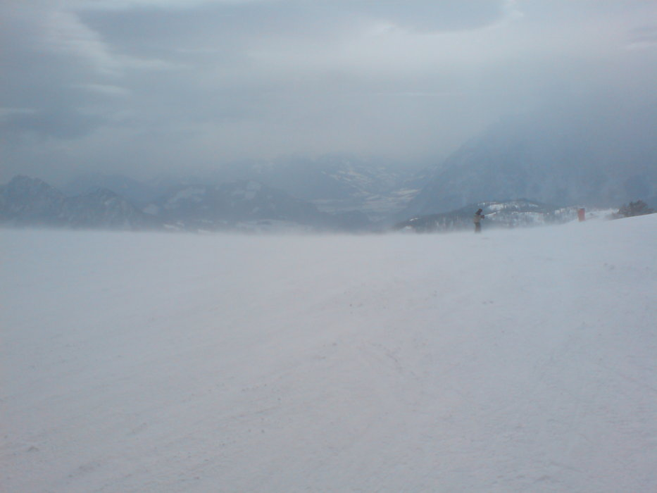 Snow and wind storm on the top of the resort