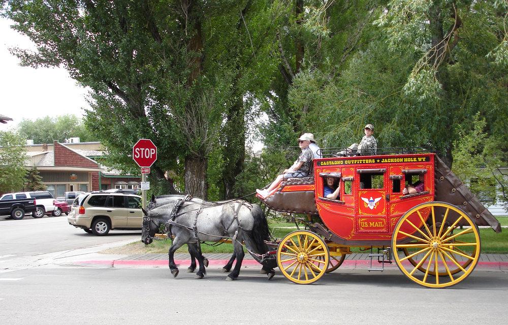 Stagecoach in village