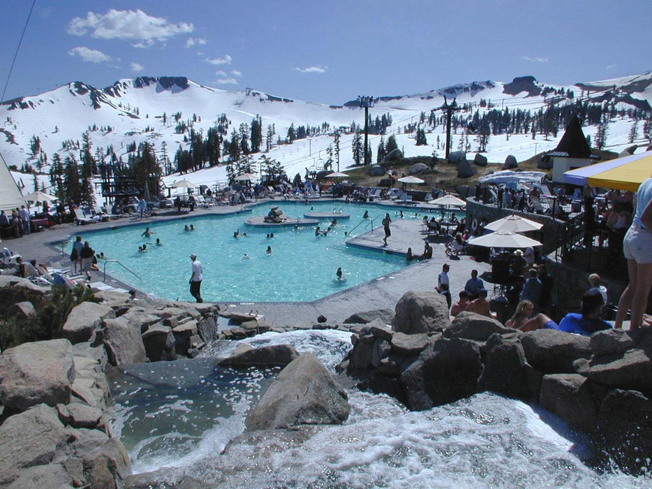 Squaw Valley village pool in spring