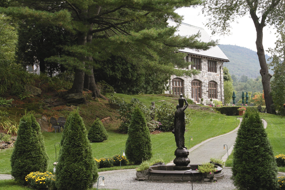 The exterior of Castle Hill Resort, Cavendish Vermont.