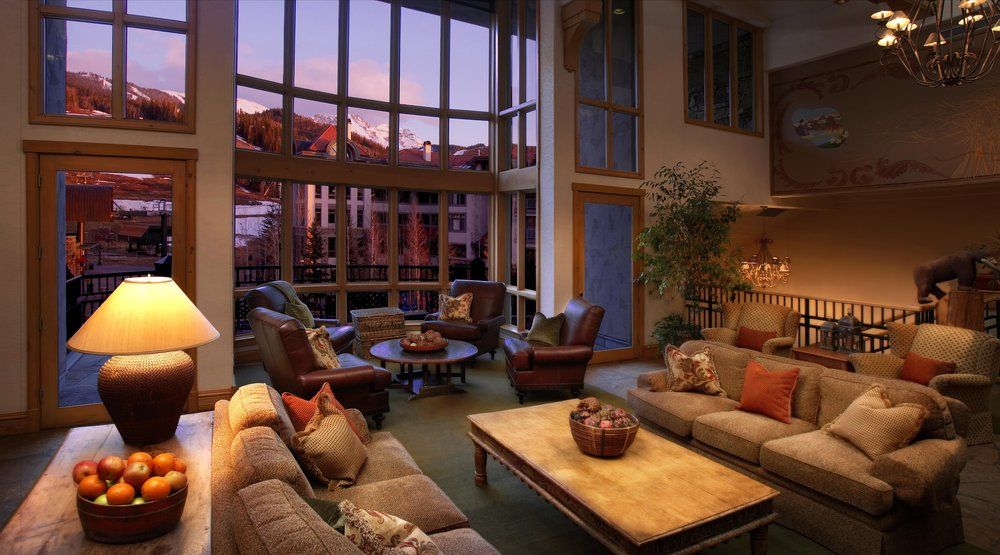 The lobby at the Franz Klammer Lodge, Telluride, CO.