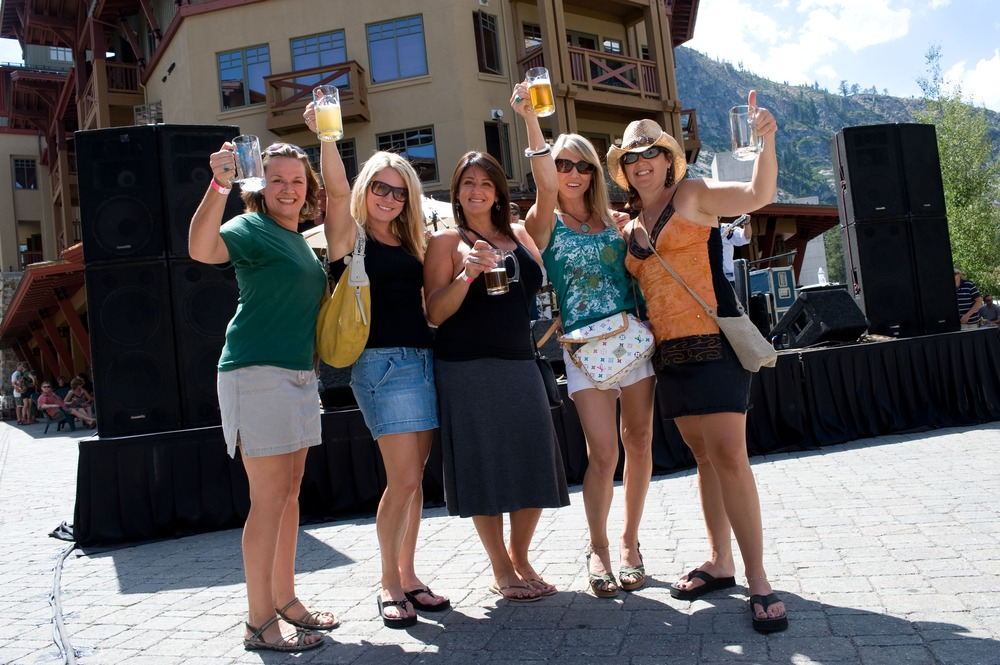 Women with beer at Village at Squaw Valley's Brews, Jazz & Funk Fest.