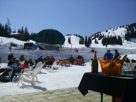 Sunshine Village - Another great spring day at the best ski resort in the Rockies or is it the champagne talking lol. seriously it was a blast today .
