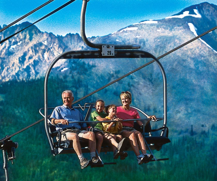 Visitors to Copper on a scenic chairlift ride.
