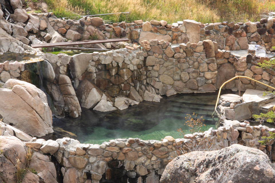 Pools at Strawberry Park vary in temperature and are generally warmer the higher up/closer to the source you go. - ©Strawberry Park Hot Springs