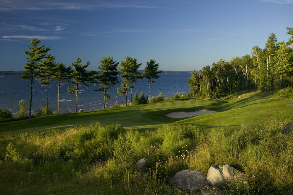 The ninth hole at Bay Harbor Golf Club, Boyne, Michigan.