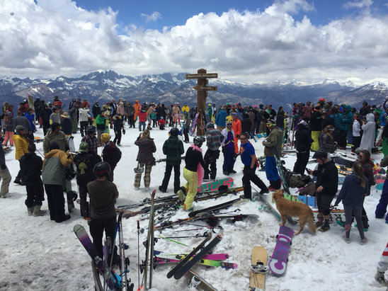 Mammoth Mountain Ski Area - Last day of the season snowball fight. Let's hope for record breaking snowfall next season. Bye bye for now, Mammoth!