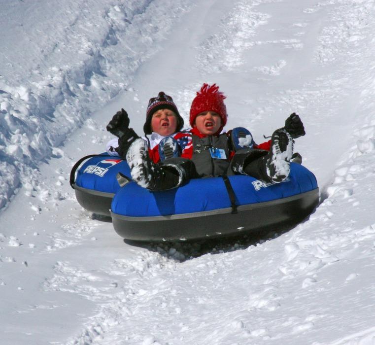 Pair of kids tubing at Wild Mountain, MN