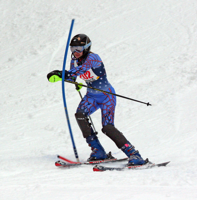 Competitive skier at a Wild Mountain event.