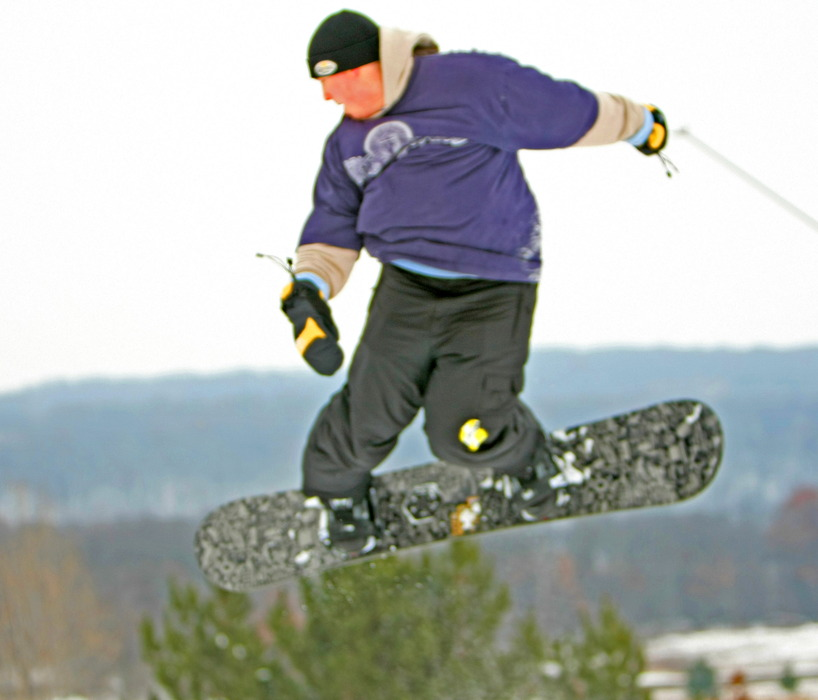 Snowboarder takes flight at Wild Mountain, MN