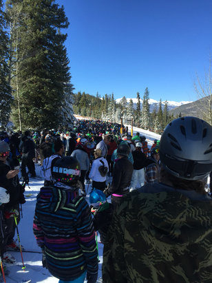 Keystone - Got Icier and more crowded as the day progressed, but not a bad day overall. Pic is the lift line at noon - ©iPhone