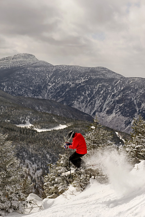 A skier takes flight at Smugglers' Notch, Vermont.