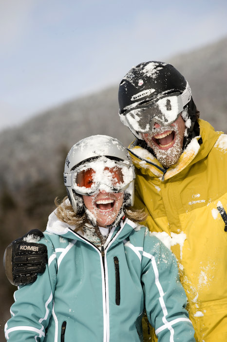 Powder-faced visitors to Smugglers' Notch, Vermont.