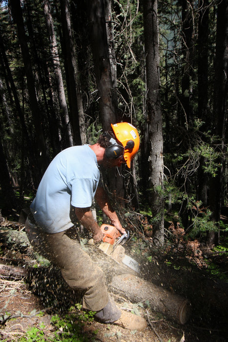 A man cutting a log with a chainsaw